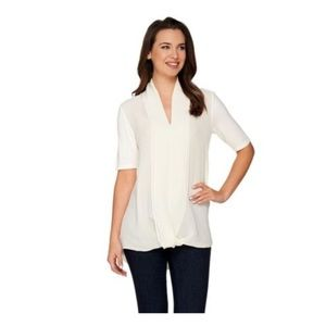H By Halston Knit Top With Chiffon (S)